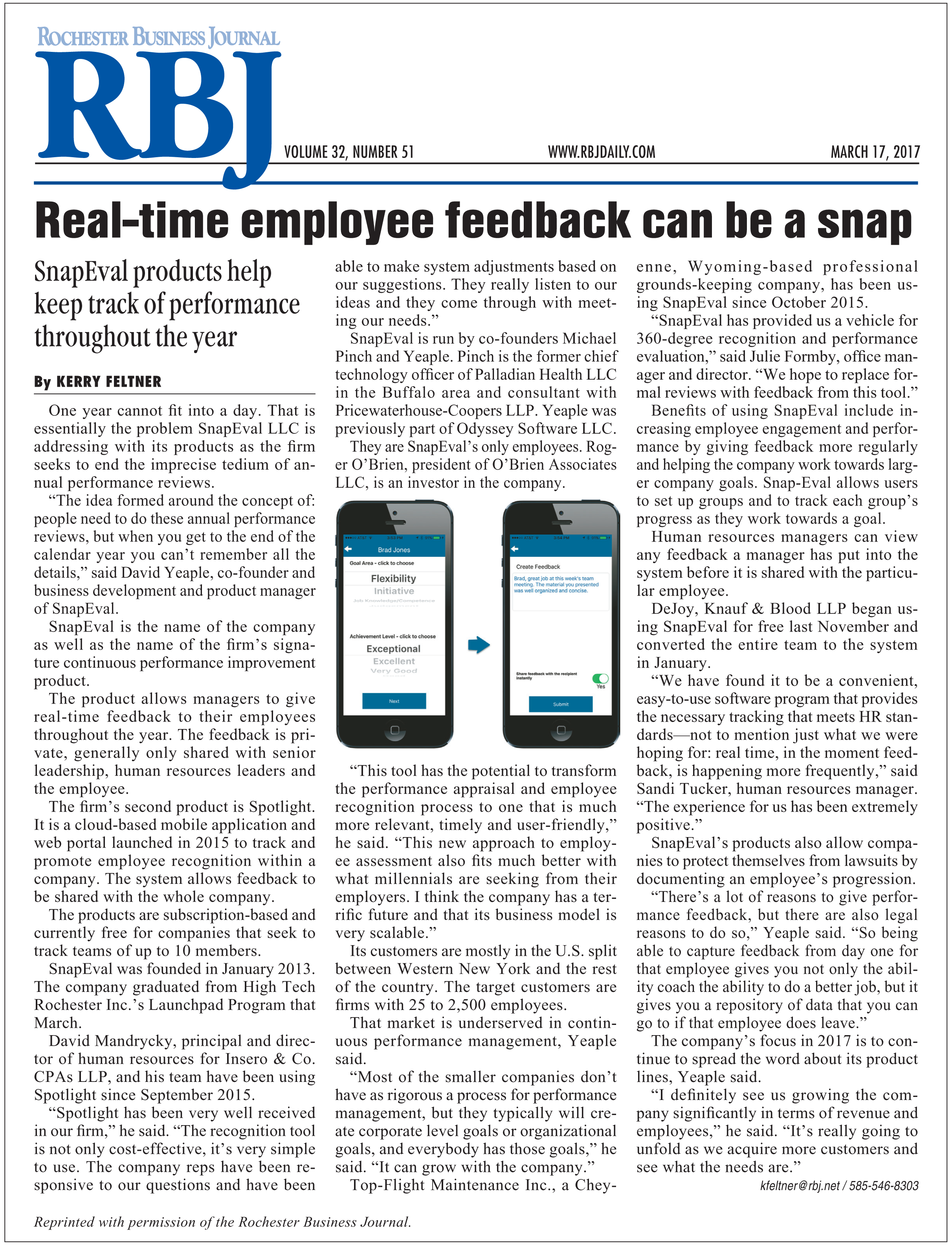 Rochester Business Journal Article: Real-time employee feedback can be a snap