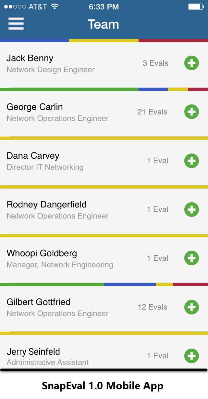 SnapEval 1.0 Continuous Performance Management Software Mobile App Original Screenshot
