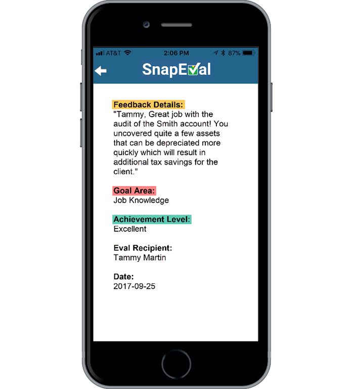 "Image 2 - SnapEval App ""Eval"" Capture of Goal Areas, Achievement Levals, and Feedback Details"