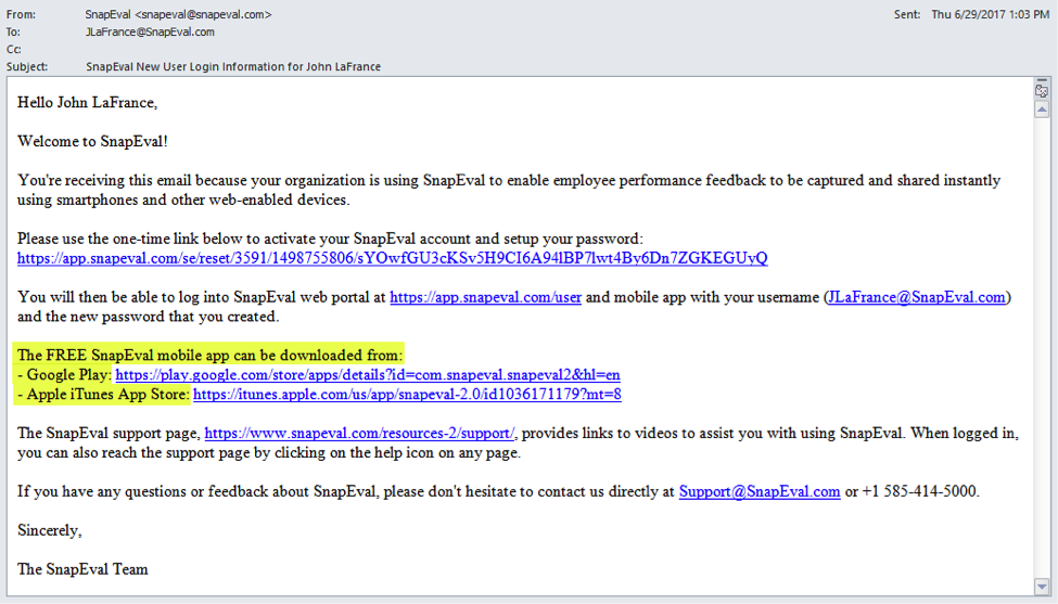 SnapEval Welcome Email For New User